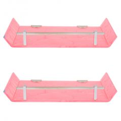 Horseway Pink Color Marble Designed Acrylic Wall Shelf - 12x5 Inch - Set of 2