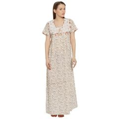 SILKYS' Floral print Cotton Nighty for women-SS30326PCH