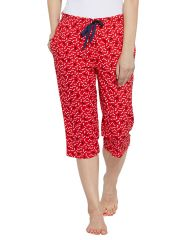 SILKYS' Mid Rise Elastic  waistband Printed Cotton Capri for women-SS661RED