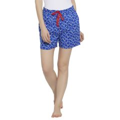 SILKYS' Mid Rise Elastic  Waistband Printed Cotton Short For Women-SS763BLU
