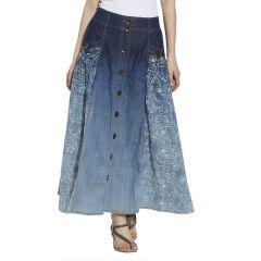 VIRO Blue Color Mid Rise Regular Fit Cotton Fabric Ankle Length Skirt For Women -VI110BLU