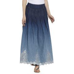 VIRO Blue color Mid Rise Regular Fit Cotton fabric Ankle Length skirt for women -VI120NBLU