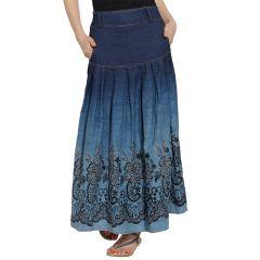VIRO Dark Blue color Mid Rise Regular Fit Denim fabric Ankle Length skirt for women -VI618DNM
