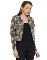 VIRO Classic Collar Denim fabric Denim color Jacket for women-VI668DNM