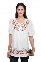 Tops & Tunics - VIRO White color V Neck Half Sleeves Cotton Top for Womens_VI99259WHT