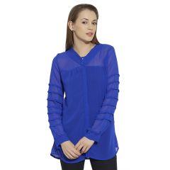 VIRO Full Sleeves Flat Collar Georgette fabric Blue Shirt for women-VI99264ARBLU