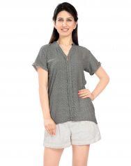 Tops & Tunics - VIRO Rayon fabric Printed V Neck Short Sleeves Grey color Top for womens _ VI99316GRY