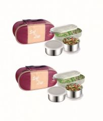 One Plastic & Two Stainless Steel Air Tight Containers Lunch Box/tiffin Set