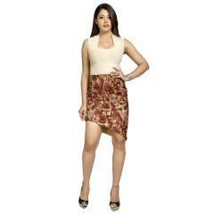 Blu Finch Women's Cotton Brown Printed Skirt 16SK11B