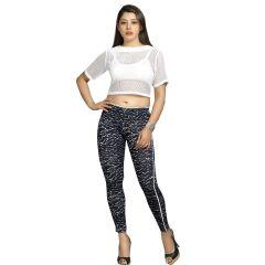 Blu Finch Women's Cotton Lycra Black Printed Pant 32P26B