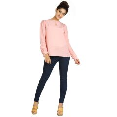 Blu Finch  Women's Crepe Pink Plain Top 41NT35P
