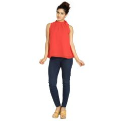 Blu Finch  Women's Georgette Red Plain Top 60NT54R