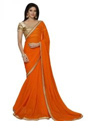 Sarees - Triveni Spectacular Orange Color Border Worked Chiffon Saree