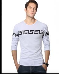White Printed T Shirts for Men Round Neck Full Sleeve TShirts