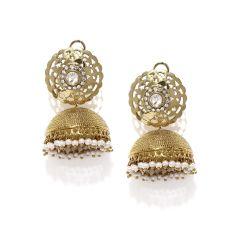 Tipsyfly Alloy Push back Dakshin gold Jhumkis Jhumki Earring for women_1022EGOLD