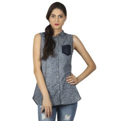 B Kind Printed Chambray Sleeveless Shirt With DTM Lace Pocket 1647