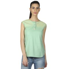 B Kind Sleeveless spot spray washed chambray top with leather trim on placket 1693