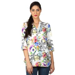 B Kind Digital print top with DTM lace detail on placket and concealed hook-n-eye 1711