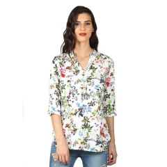 B Kind Digital print top with DTM lace detail on placket and concealed hook-n-eye 1712