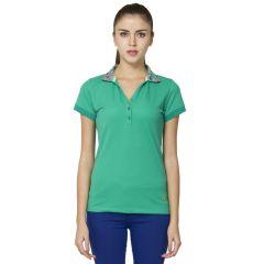B Kind Women's  Green piquet Solid T-shirt KT-741