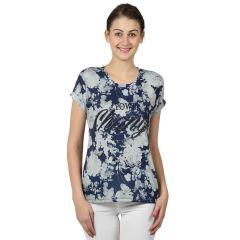 B Kind Women's Indigo Poly Jersey Printed Top KT-780