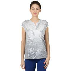 B Kind Women's  Grey Sigle Jersey Neps Floral Print T-shirt KT-790