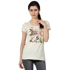 B Kind Women's  Offwhite Sigle Jersey Neps Printed T-shirt KT-791