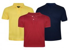 Tangy Pack Of 3 Mens Yellow&red&blue Polo T-shirt-(code-2x3)