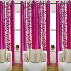 SG Pink Floral Polyester Contemporary Eyelet Long Door Curtain 4x7ft (set Of 4)