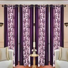 Home Decor & Furnishing - SG Purple Floral Polyester Contemporary Eyelet Long Door Curtain 4x7ft (set Of 4)