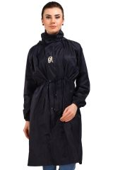 Real Rainwear Black Nylon Scooty Coat for Women-SCRBLK01
