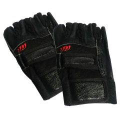 JHARJHAR BLACK LEATHER HAND GLOVES (A)