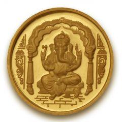 P.N.Gadgil Jewellers 5 gms Ganesha Om Gold Coin