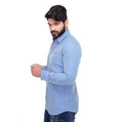 Blue Boota Checked Slim Fit Men's Casuals Shirt From RollerFashions