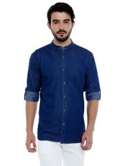 Roller Fashions Men's Solid Casual Denim Blue Shirt (Code - C3SD0B)