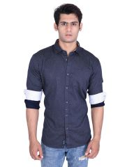 Roller Fashions Navy Blue Printed Long Sleeves Casual Shirt (Code - MRNY03)
