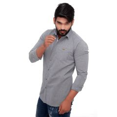 Grey Spring Slim Fit Men's Casuals Shirt From RollerFashions