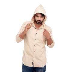 Cream Hoodie Slim Fit Men's Casuals Shirt From RollerFashions