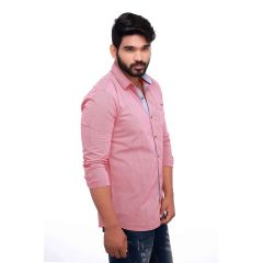 Pink Spring Slim Fit Men's Casuals Shirt From RollerFashions