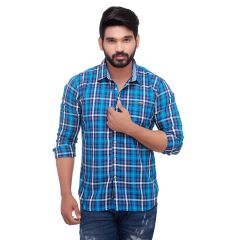 Blue Twill Checked Slim Fit Men's Casuals Shirt From RollerFashions