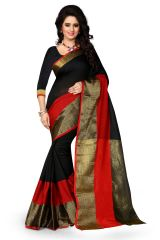 Plani Black Poly Cotton Casual Wear Saree Eh_501
