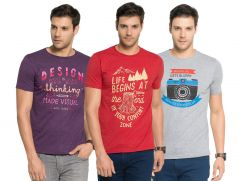 Zorchee Men's Round Neck Cotton Printed T-Shirts -Pack of 3 (Code - ZO-04-09-05)