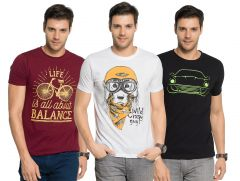 Zorchee Men's Round Neck Cotton Printed T-Shirts -Pack of 3 (Code - ZO-06-16-14)