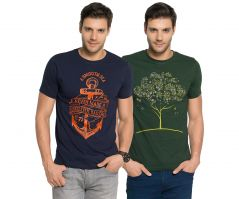 Zorchee Men's Round Neck Cotton Printed T-Shirts -Pack of 2 (Code - ZO-07-03)