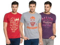Zorchee Men's Round Neck Cotton Printed T-Shirts -Pack of 3 (Code - ZO-09-15-04)