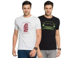 Zorchee Men's Round Neck Cotton Printed T-Shirts -Pack of 2 (Code - ZO-12-14)