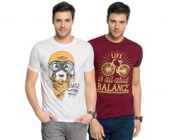 Zorchee Men's Round Neck Cotton Printed T-Shirts -Pack of 2 (Code - ZO-16-06)