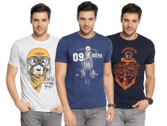 f90a0afeb Zorchee Men s Round Neck Cotton Printed T-Shirts -Pack of 3 (Code -