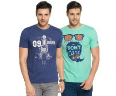 60d21f3fa Zorchee Men s Round Neck Cotton Printed T-Shirts -Pack of 2 (Code -