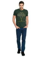 Zorchee Men's Round Neck Half Sleeve Cotton T-Shirts - Green (ZO3)